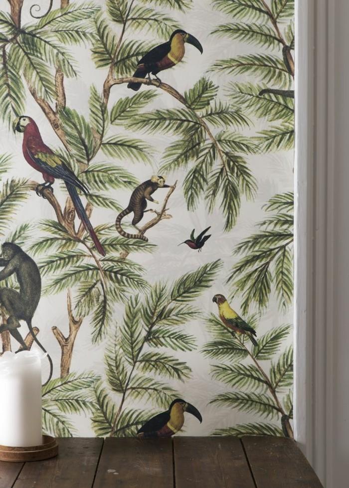 Tapeten Historische Motive : bunte-tapeten-lustiges-tapeten-design-Dschungel-Tiere-Palmen