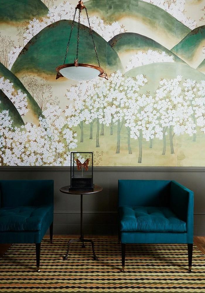 cooles-Interieur-vintage-Teppich-wunderschöne-Sessel-natural-aussehendes-tapetenmuster-Wiesen-weiße-Blüten