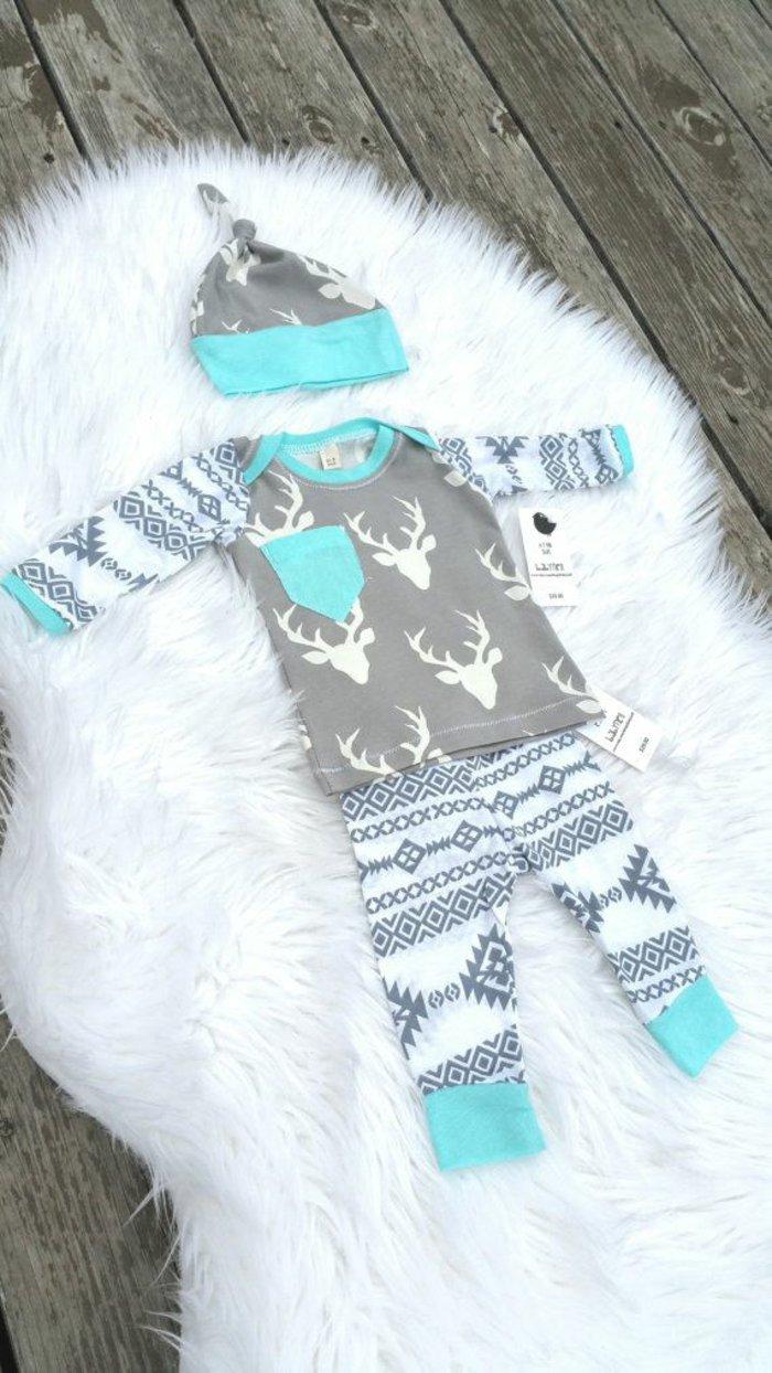 cooles-Modell-kinder-schlafanzug-Weihnachtsmuster-Hut