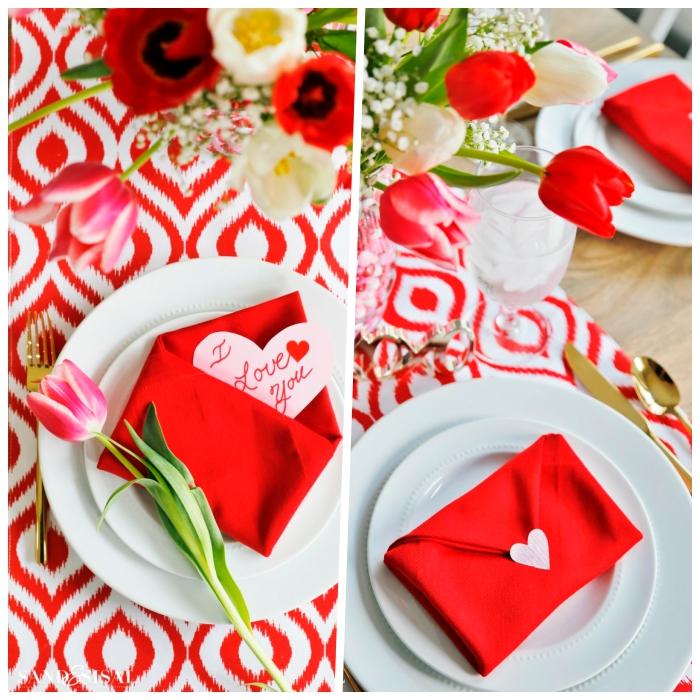 deko tisch zu valentinstag, rote servietten in der form von briefumschlägen, vase mit tulpen