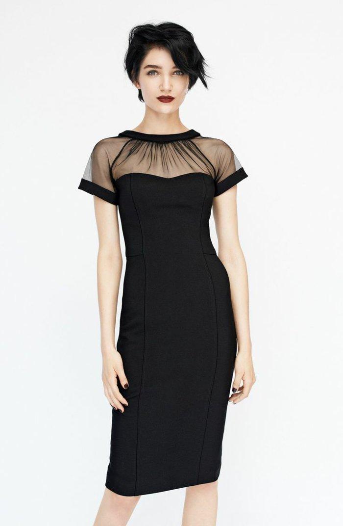 schicke-Kleider-elegantes-kleid-für-Silvester-schwarz-durchsichtiger-Oberteil