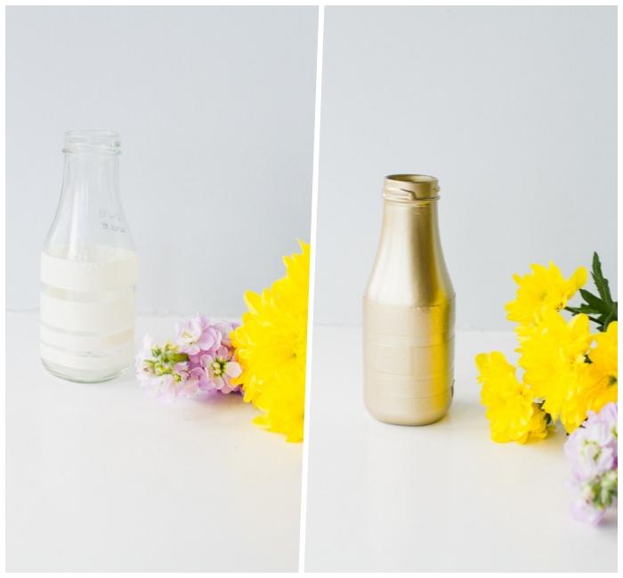 glasflasche mit goldener farbe dekoreiren, frische blumen, esstisch deko basteln, diy