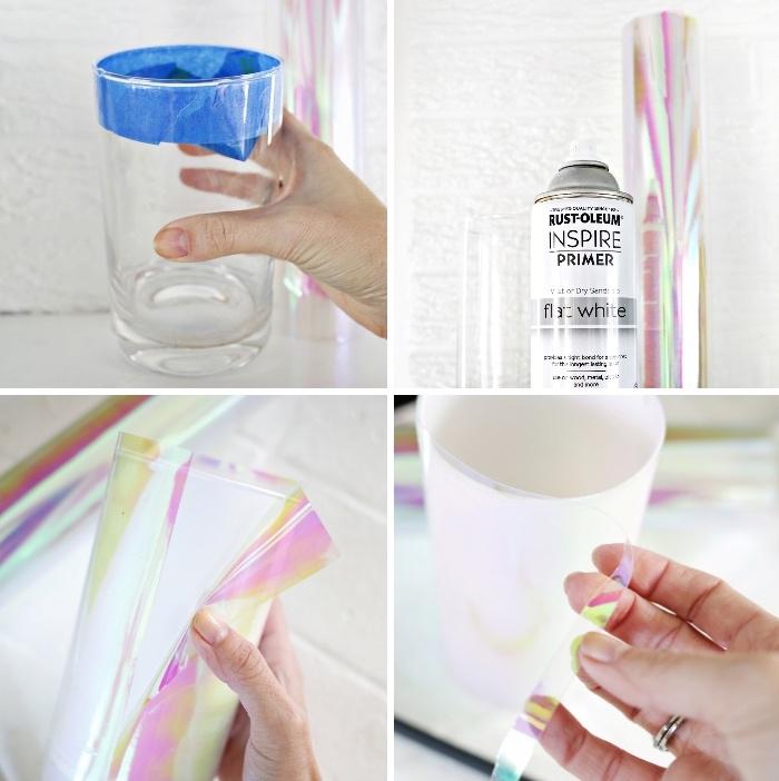 diy tutorial, glasvase mit hologynem papier dekorieren, esstisch deko basteln, diy deko