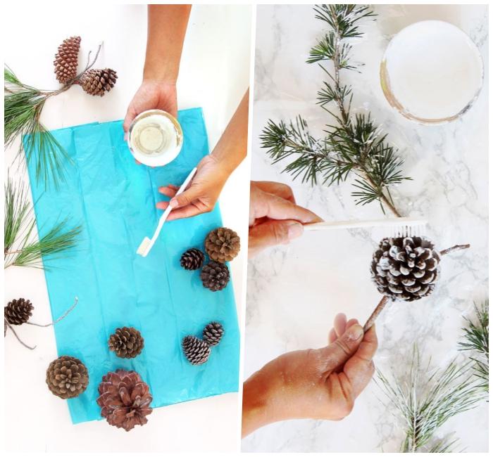 tannenzapfen mit weißer farbe verzieren, esstisch deko selber machen, kunstschnee