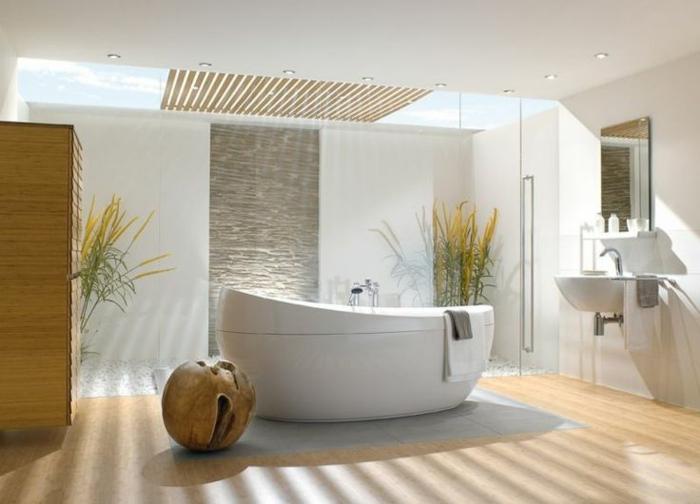 exotisches-Badezimmer-Interieur-Pflanzen-badewanne-freistehend-oval-eiförmig