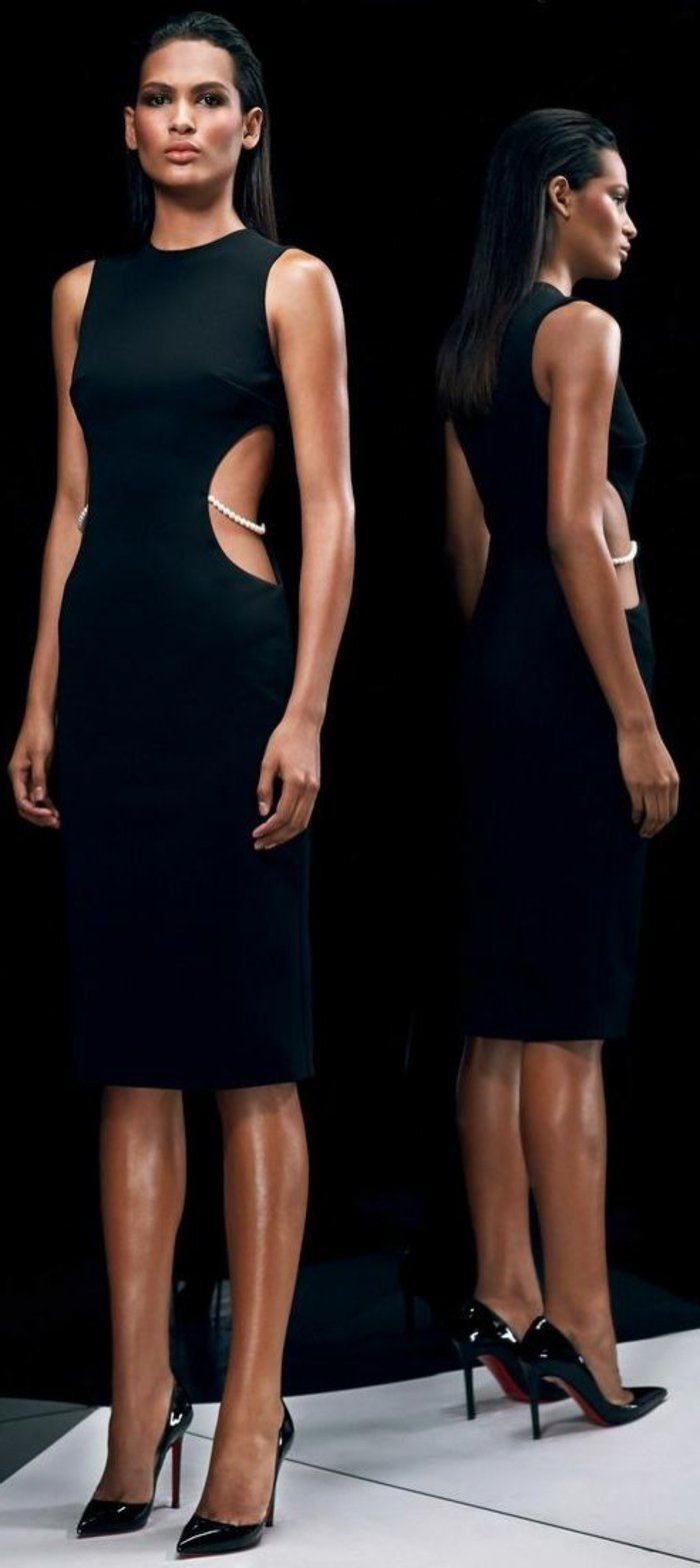 extravagante-kleider-für-Silvester-schwarz-Perlen-Dekoration