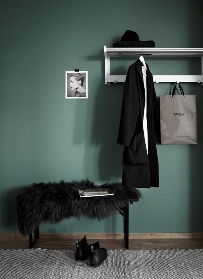Farbige Wände Wandgestaltung Wohnzimmer Grün