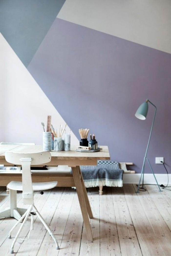 farbige-Wände-zimmer-streichen-ideen-geometrische-Figuren