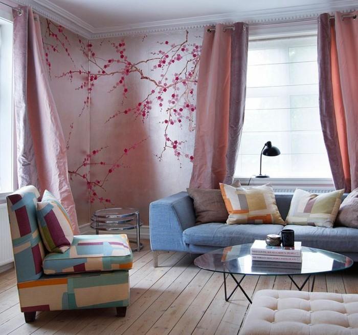 gemütliches-Wohnzimmer-romantisches-tapeten-muster-herrliche-Wandgestaltung