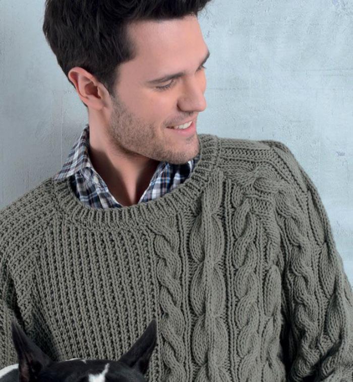 grüne-pullover-wollpullover-Herren-mit-Zopfen