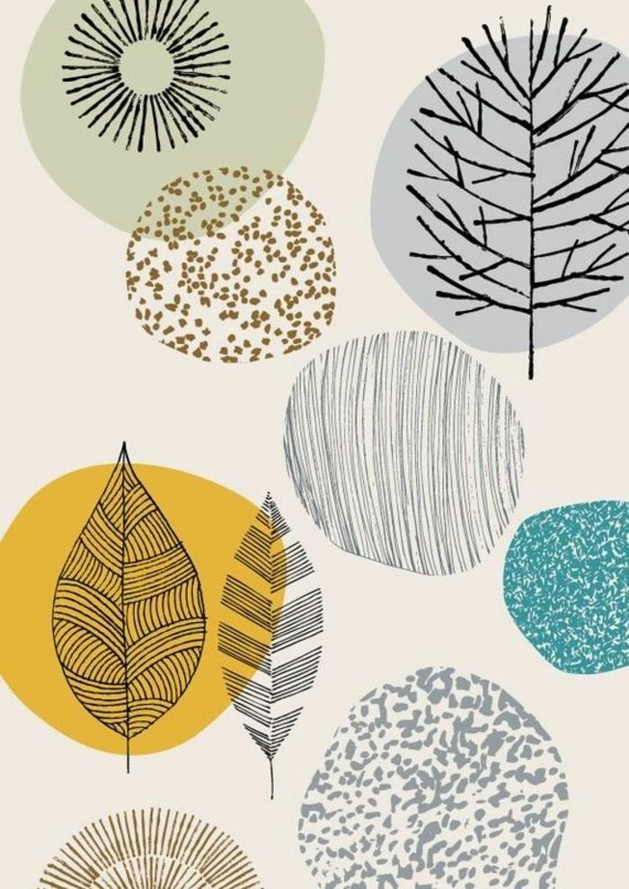 hochwertige-tapeten-naturale-Zeichnungen-Blätter-Bäume