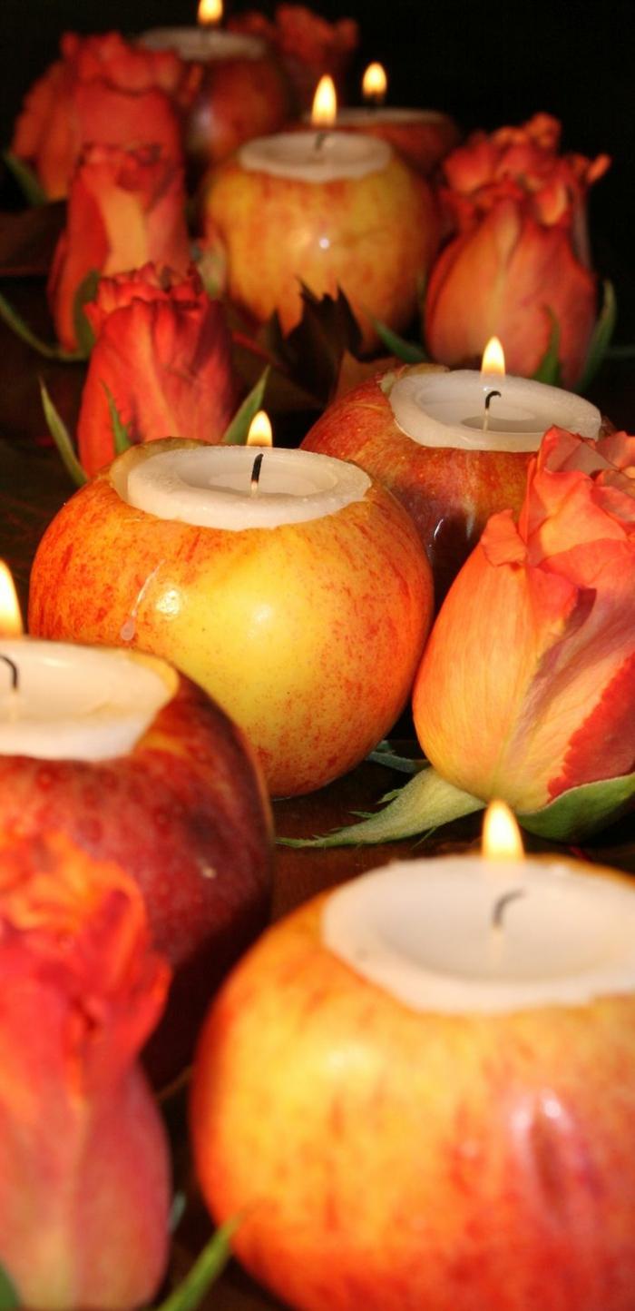 hochzeitsdeko-selber-machen-Äpfel-als-Kerzenhalter-blumen-tischdeko