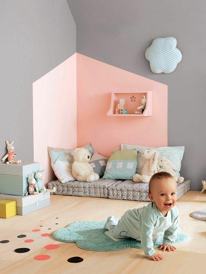 ideen-zum-streichen-des-Kinderzimmers-zweifarbige-wände-streichen