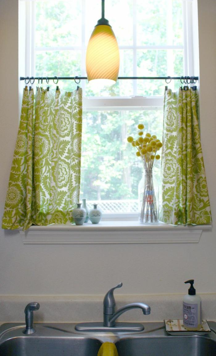 küchenfenster-gardinen-frisches-grünes-Muster-gardinen-für-kleine-fenster