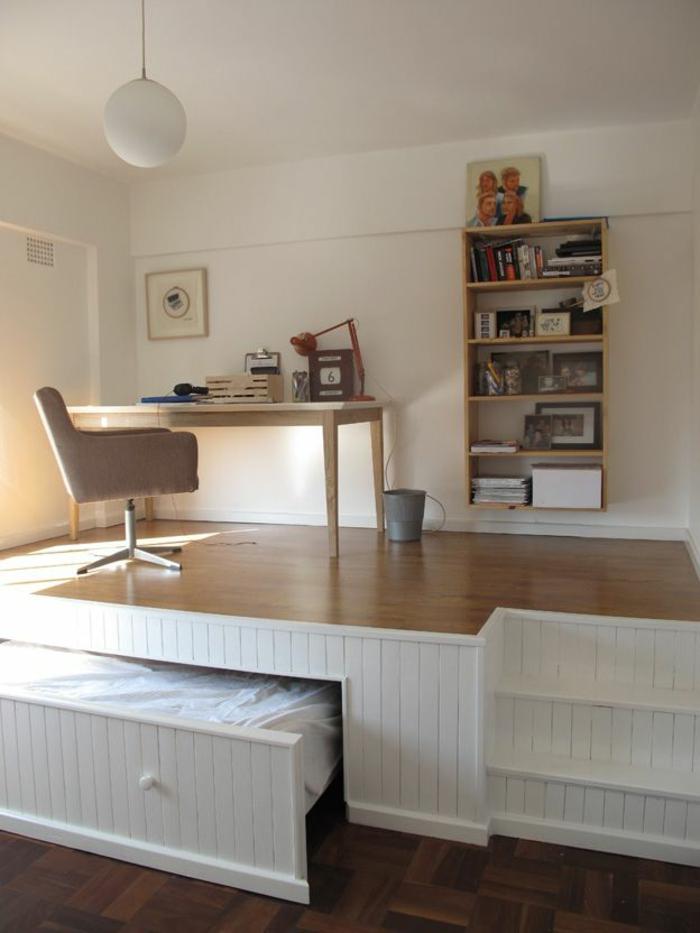 kreative-wohnideen-Schlafzimmer-und-Arbeitszimmer-mit-gehobenem-Boden