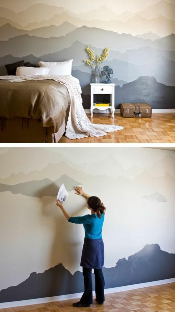 Tapeten Schlafzimmer Romantisch : kreatives-tapeten-design-Gebirge-Bild-romantische-Idee