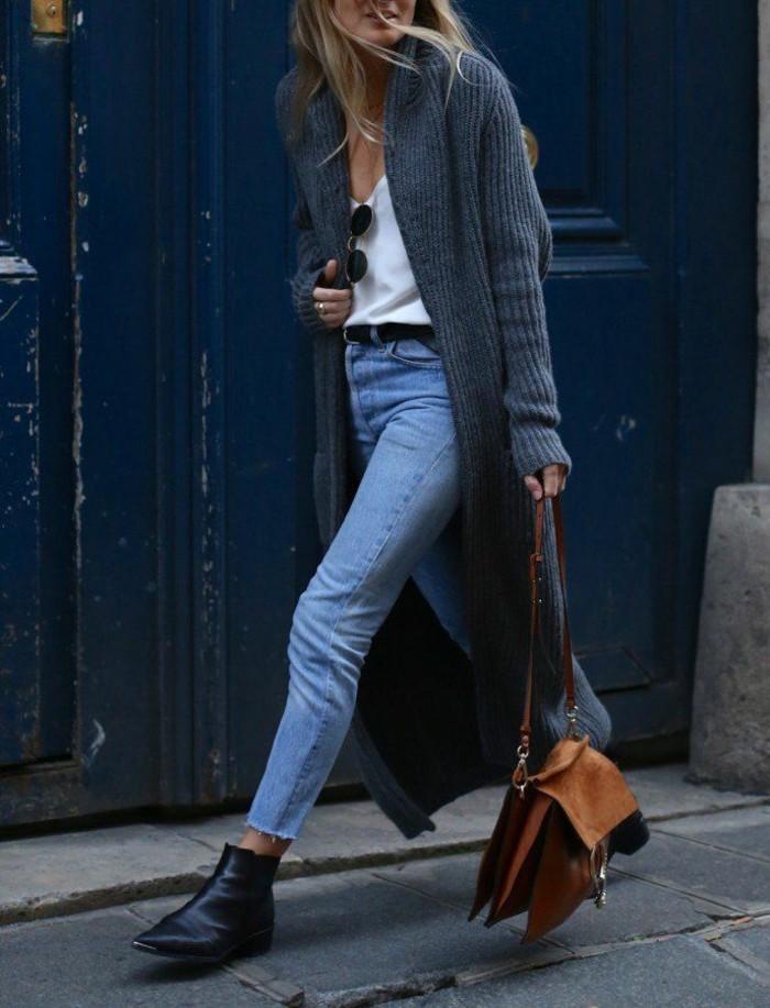 legerer-alltäglicher-Outfit-Jeans-warmer-langer-cardigan-strickjacke-grau