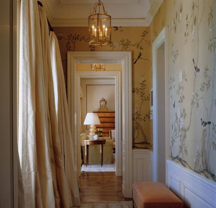 luxuriöses-Interieur-Pastellfarben-vintage-Leuchten-stylische-tapeten
