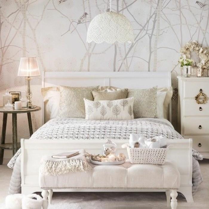 luxurises weies schlafzimmer interieur hochwertige tapeten naturales aussehen - Tapeten Trends Schlafzimmer