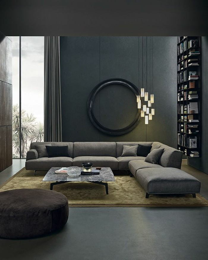 45 Super Ideen Für Farbige Wände   Archzine.net   Wohnzimmer Grau Petrol