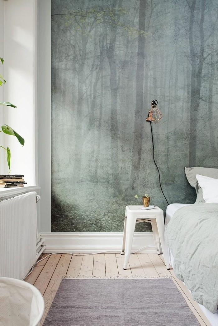 minimalistisches-Schlafzimmer-Interieur-ausgefallene-wanddeko-naturales-tapeten-design