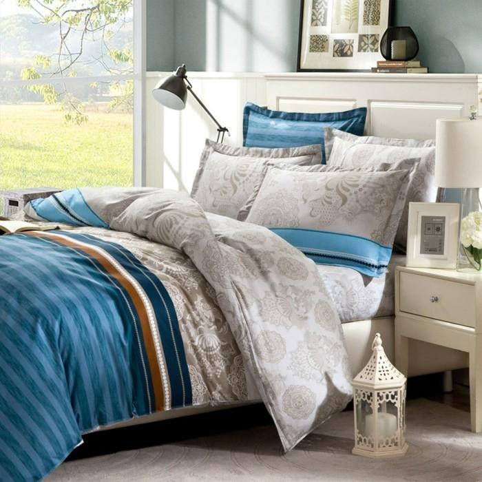 moderne-bettwäsche-blau-grau-vintage-schlafzimmer