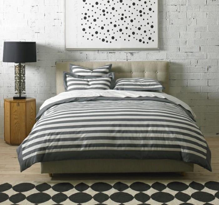 moderne-bettwäsche-ziegelwand-schlafzimmer-gestreift-modell