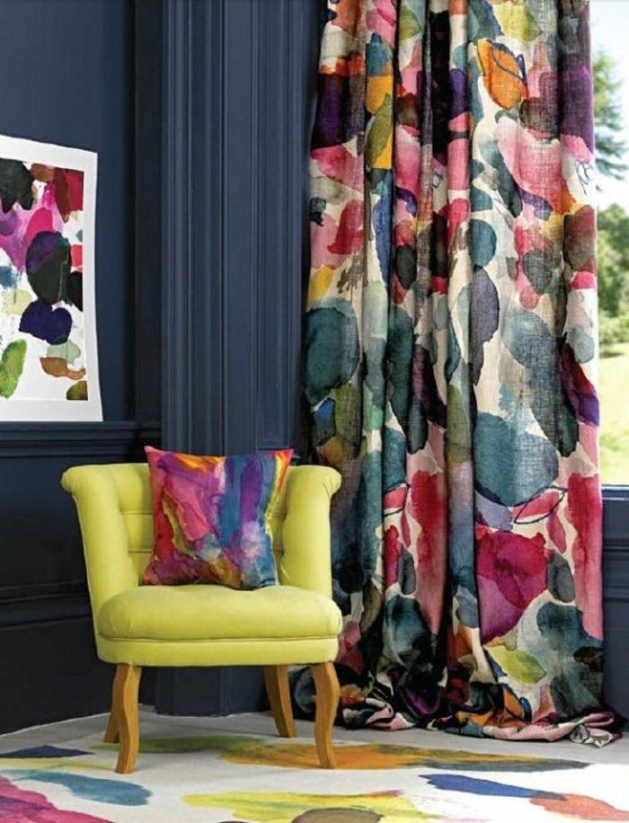 moderne-gardinen-für-wohnzimmer-buntes-Muster