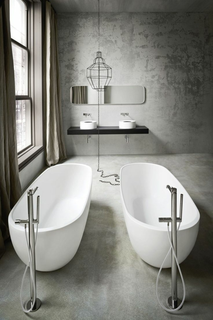 modernes-minimalistisches-Badezimmer-Interieur-zwei-ovale-badewannen