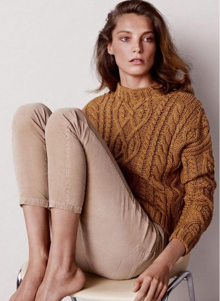 pullover-wolle-damen-Erdtönung-Zopfen-Muster
