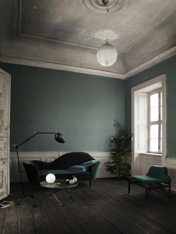 Räumliches Wohnzimmer Farblich Gestalten Petrol Wandfarbe