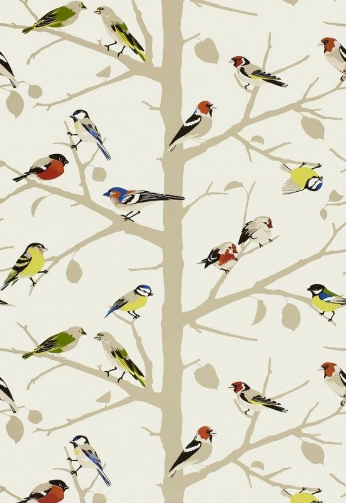 romantisches-tapeten-muster-Vögel-Bäume