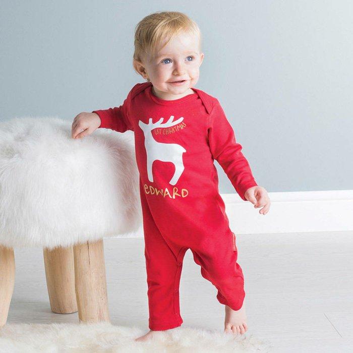 roter-jungen-schlafanzug-einteiliger-schlafanzug-Weihnachtsmuster