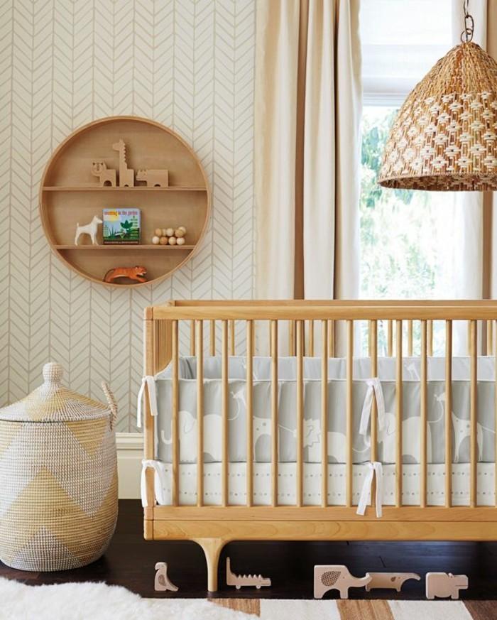 süße-Kinderzimmer-Gestaltung-Leuchte-aus-Rattan-hochwertige-tapeten