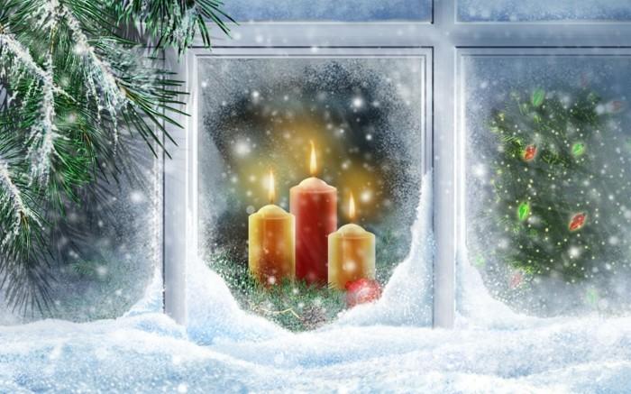 schöne-fensterdekoration-zum-weihnachten-interessantes-bild-drei-kerzen