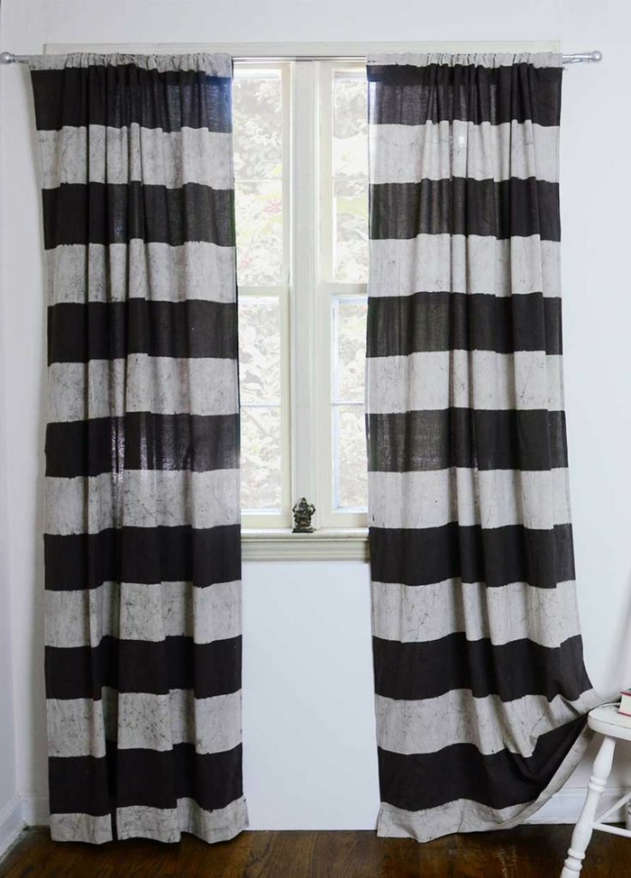 schöne-gardinen-schwarz-weißes-Muster-Streifen