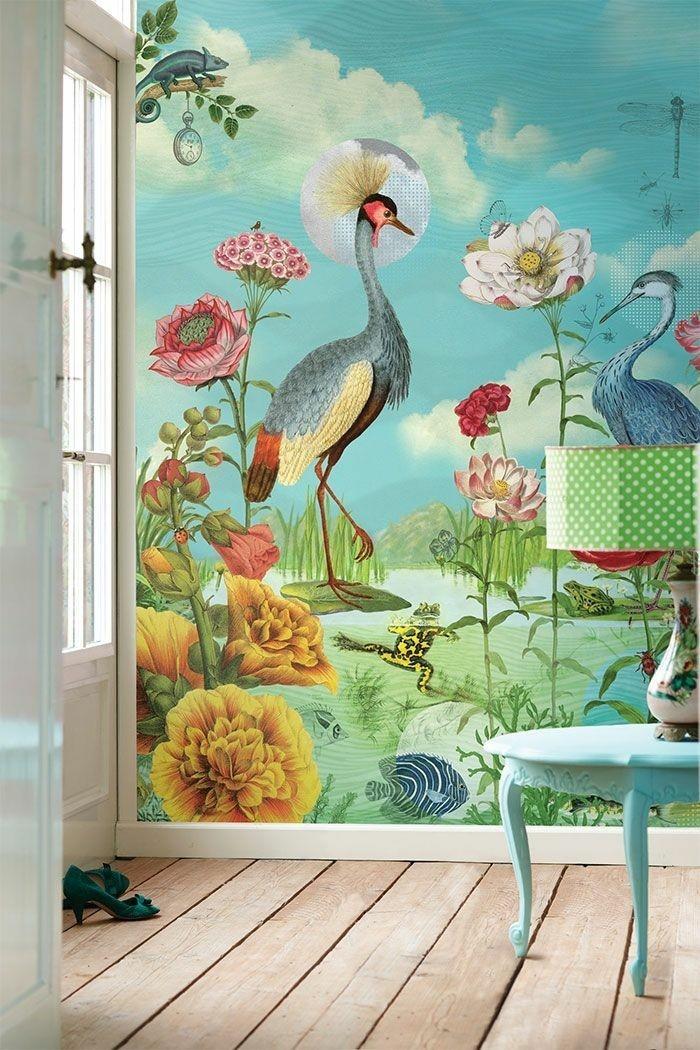 shabby-chic-Interieur-ausgefallene-tapeten-naturaler-Look-Blumen-Tiere-Vögel