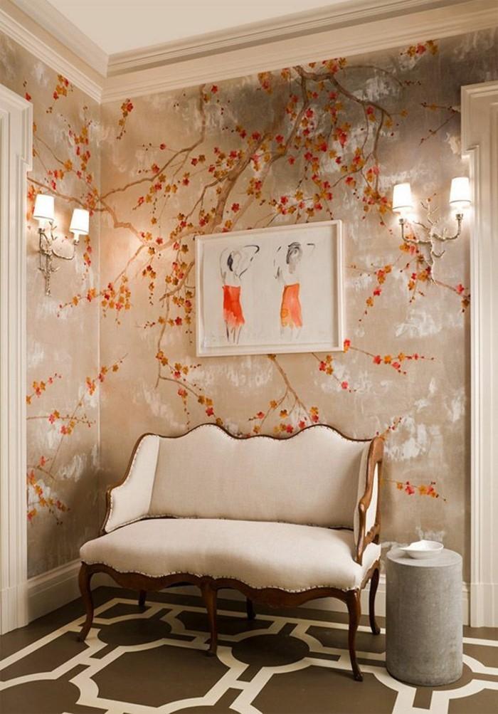 stilvolles-Zimmer-schöne-tapeten-seltsames-Wandbild-orange-Akzente