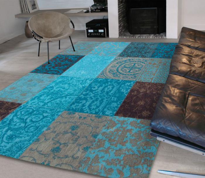 teppich-türkis-Farbe-Patchwork-modernes-Design