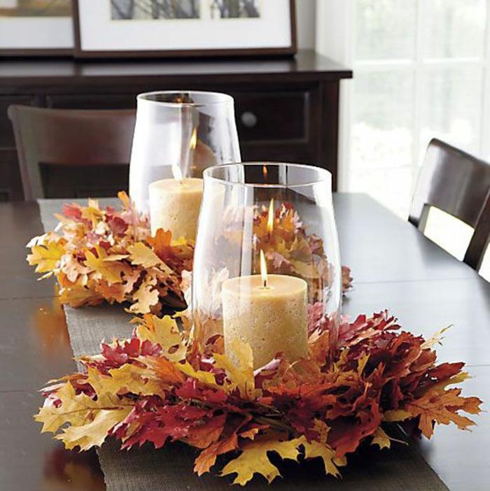 tischdeko-basteln-einfache-tischdeko-Herbst-Blätter