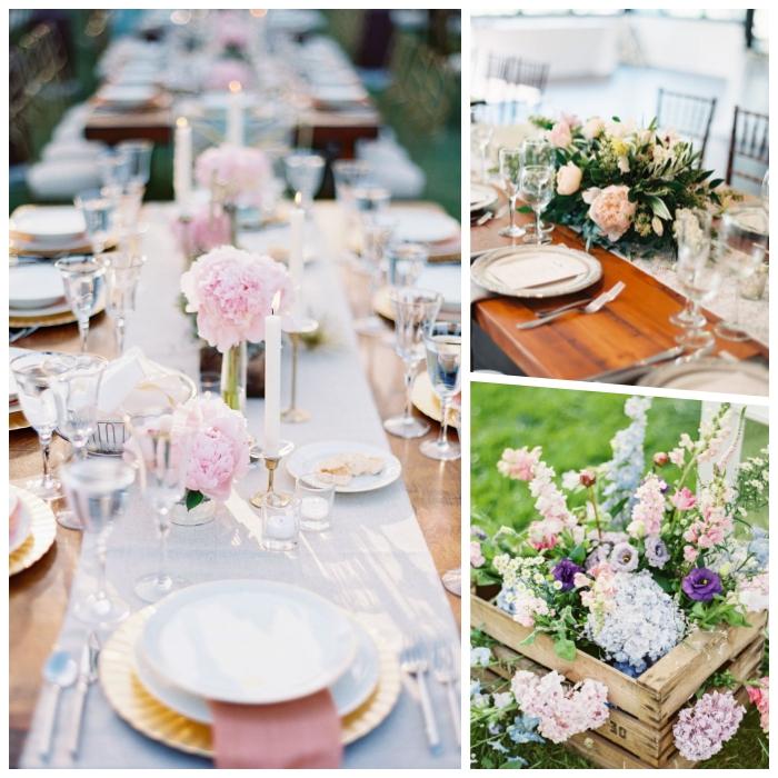 hochzeitsdeko im boho stil, heiraten im garten, tischdeko frühling, rosa hortensieren