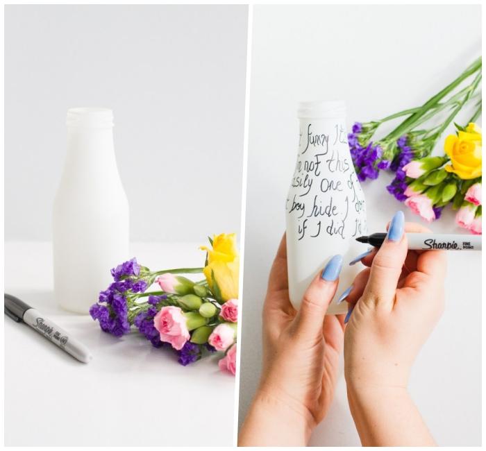vase mit weißer farbe und schwarzem marker dekorieren, tischdeko frühling, selbstgemachte deko