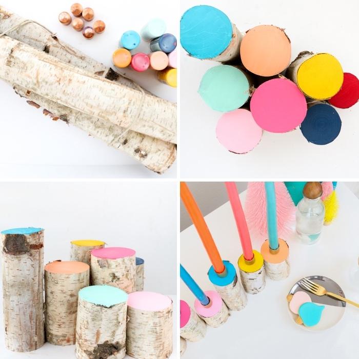 tischdeko ideen zum selebrmachen, bunte farben, kerzenständer aus holzästen, schritt für schritt