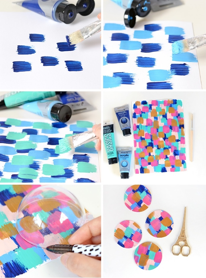 tischdeko selber machen, papier mit aquarellfarbe dekorieren, goldene schere, weihnachtsliche deko