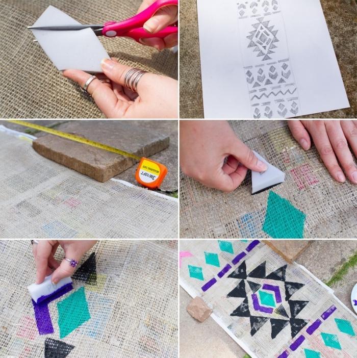 tischdeko selber machen, leinen mit geometrischen motiven dekorieren, bunte farben