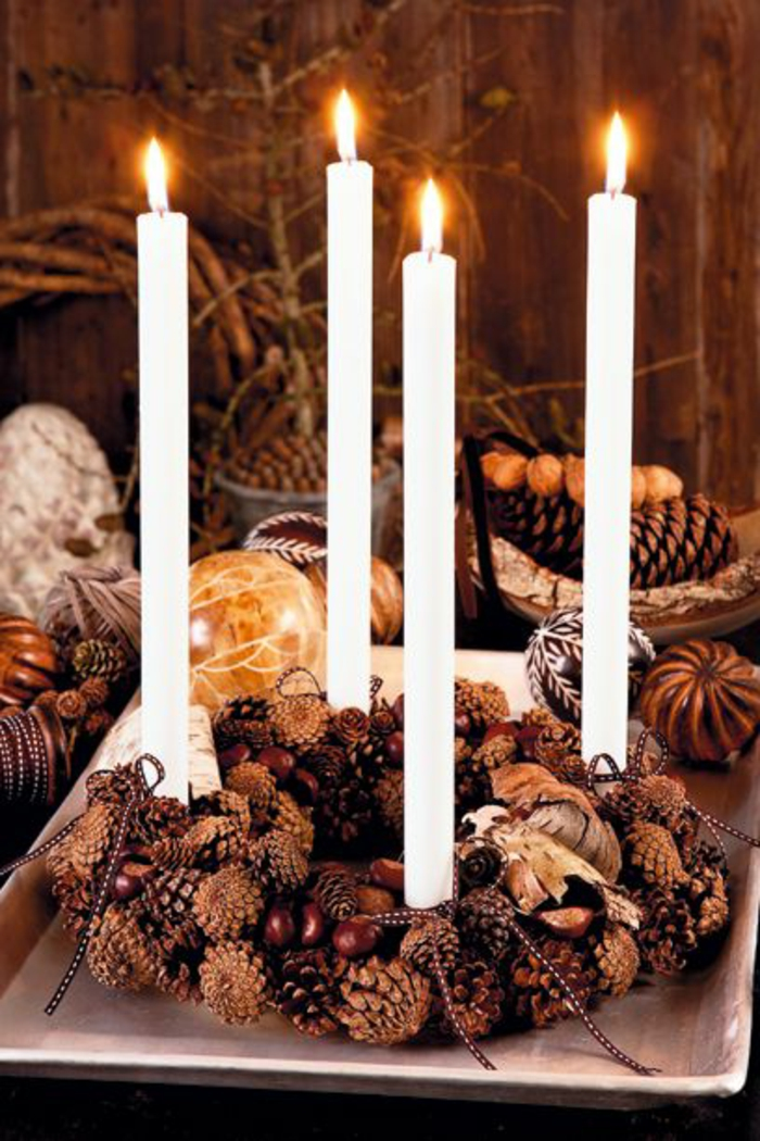 tischdeko-weihnachten-basteln-weiße-kerzen