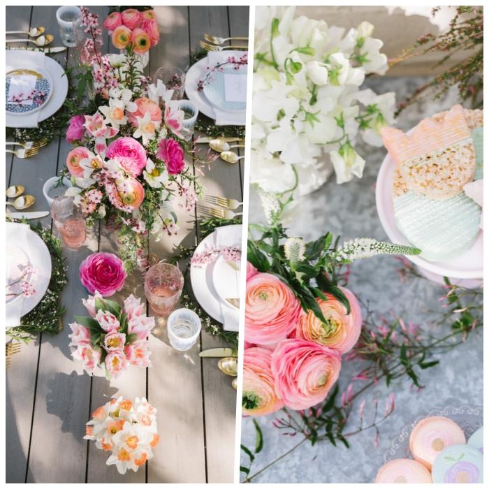 deko im boho stil, tischdekoration hochzeit, girlande aus blumen, frische frühlingsblumen