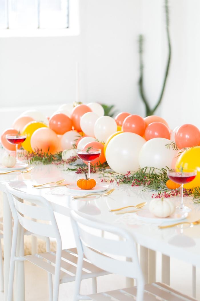 tischdekoration ideen, partydeko selber machen, gilrande aus ballons, cocktails