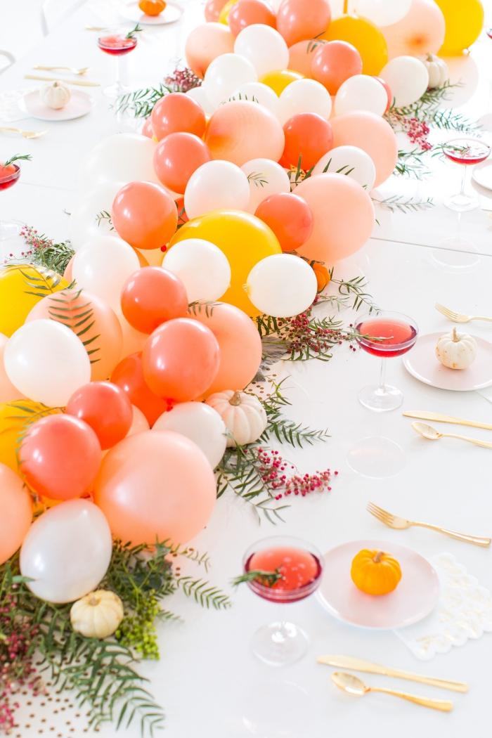 tischdekoration ideen, deko zur party mit luftballons, festliche tischdeko, diy