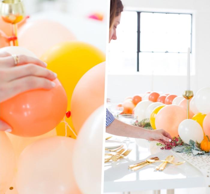 tischdekoration ideen, orangenfarbige, gelbe und weiße luftballons, tish dekroeiren